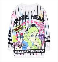 Free shipping /Chic Beauty Harajuku Cat printing Striped cartoon round neck long sleeve fleece coat Fresh Baggy Hoodies