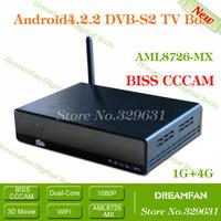 Dual core DVB-S2 Android tv box Satellite receiver SetTop AML8726-MX IPTV 4.2.2 XBMC smart Multi-Media Player Free shipping