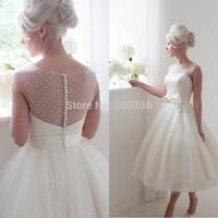vestido de noiva 2015 Fashion Sheer Bateau Bow Sash Ball Gown Sleeveless Covered Button Back Tulle Tea Length Wedding Dresses