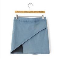 2014 New European style irregular high stretch denim high waist skirt zipper bag hip skirts xjh93