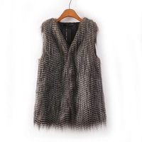 Colete Pele 2015 New Fashion Winter Jacket Cardigans Women Grey Sleeveless Peacock Feathers Vest Faux Fur Vest Overcoat