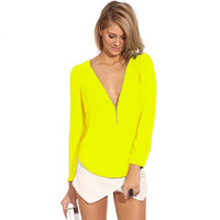 Sexy Fashion Woman 2014 Office Fall Clothing Female Formal Brand Tops Neon Yellow Black V Neck Long Sleeve Zipper Chiffon Blouse