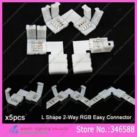 5pcs 4Pin 4-Pin 10mm L-shape RGB PCB Corner Splitter Connector Solderless No Welding Adaptor with Clips for 5050 RGB LED Strips
