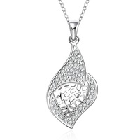 FREE SHIPPING! 5pcs 925 Sterling SILVER  Elegant design  with crystal NECKLACE,925 silver necklace ,Drop shipping