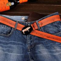 men belt cowhide genuine leather   10pieces/lot   alloy pig buckle unique casual fashion jeans strap DHL free shipping