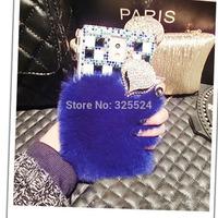 hot sell sex fox 3D new luxury rhinestone bling  diamond rabbit hair fox Case For Samsung galaxy Note3 Note2 S5 S4 S3 i930 N9000