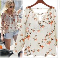 Women's V Neck chiffon shirt, Fashion Casual Chiffon Blouse, Wild style of Chiffon Tops/Tee