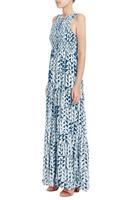 Blue decorative pattern expansion bottom sleeveless vest ultra long one-piece dress skirt