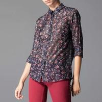 2014 New Fashion Women blusas femininas Long Sleeve daisy Shirt Blouse Tops Black Flowers Floral Blouses Casual women Top