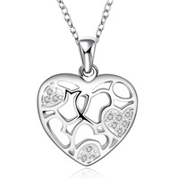 FREE SHIPPING!925 Sterling SILVER  Elegant design  heart with crystal NECKLACE,925 silver necklace ,Drop shipping