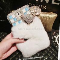 sex fox 3D new luxury rhinestone bling white For Samsung galaxy Note3 Note2 S5 S4 S3 N9000 bling diamond rabbit hair fox Case