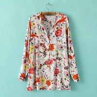 2014 New Bershka Women HOT brand Cotton Top Novelty Pattern Plants Print Long-Sleeved Blouse & Shirt Blousas Camisas Femininas