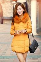 2014 New Fashion Winter Women Grey Duck Down Long Sleeve Long Slim Fur Collar Hooded Coat Jacket Parka