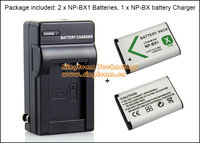 2x NP-BX1 Battery + 1x NPBX1 Travel charger for Sony DSC-RX1 RX1R RX100 WX350 H400 HX50V HDR-AS10 AS15 AS100 CX240 PJ275 Cameras