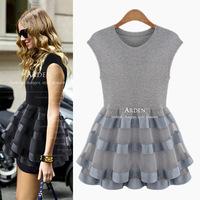 2014 new Summer women brief sign sleeveless cascading ruffle organza mesh patchwork high waist slim vestido de festa plus size