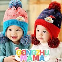 New 2014 Winter new Santa double ball protective ear cap child baby hat cartoon  baby cotton cloth cap free shipping