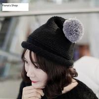 new 2014 free ship pom poms beanie hat women winter cap gorros bonnet woman skullies
