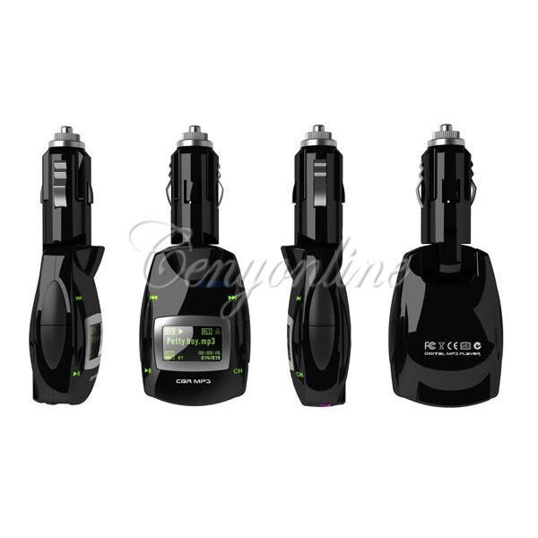 Car Auto Green LCD 3.5mm Plug Stereo Radio Wireless FM Transmitter Modulator USB2.0S D MMC Remote Kit MP3 Music Player Universal(China (Mainland))