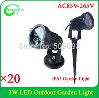 3W IP65 Silver/Black Stainless Steel 110V/220V  Garden light Outdoor lawn light 3W Led Spotlight