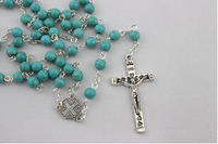 30pcs/lot Free Shipping  Blue Turquoise Cross Rosary Beads Necklace  Wholesales