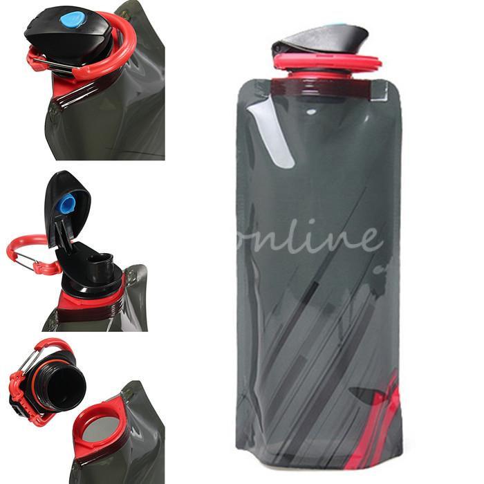 Luxury Black Environmental Cartoon Foldable Water Bottle Bag Portable Kettle Outdoor Sports Travel Bottles Free Shipping CT102(China (Mainland))