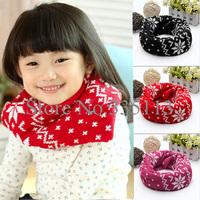 Free Shipping Cute Kids Winter Warm Ring Scarf Baby Neckerchief Neck Round Snow Flake Shawl Children Knitting Wool Wraps