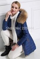 2014 New Fashion Winter Women Grey Duck Down Racoon Fur Collar Hooded Long Slim Coat Jacket Parka