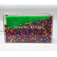 Unique flowing beads acrylic clutch bag acrylic box bag S20172