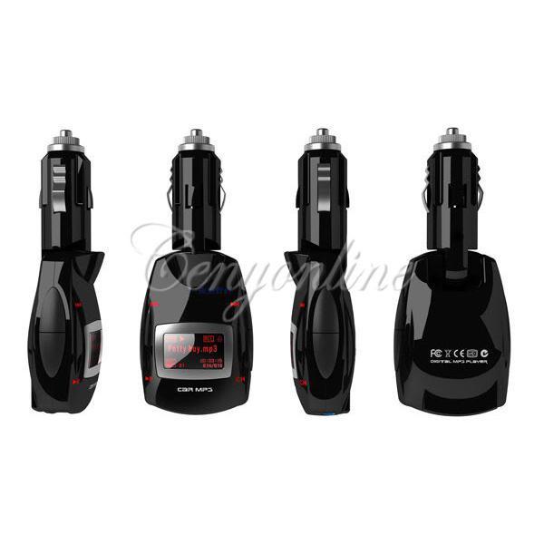 3.5mm Plug Red LCD Car Auto Radio Stereo FM Transmitter Modulator USB 2.0 S D MMC Wireless Remote Kit MP3 Music Player Universal(China (Mainland))