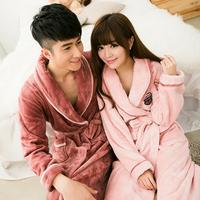 Autumn and winter thickening flannel robe lovers bathrobe coral fleece robe long-sleeve lounge Women Bathrobes