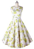 Top Quality!!! Europe Fashion Women 50s Retro Lemon Print Word Collar Pinup Rockabilly Party Birthday Prom Boat Neck Swing Dress