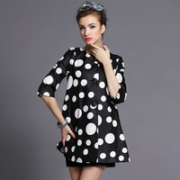 FREE SHIPPING 2014 new high-end Autumn and winter Retro Polka Dot Bow printing temperament trench coat for women S-5XL