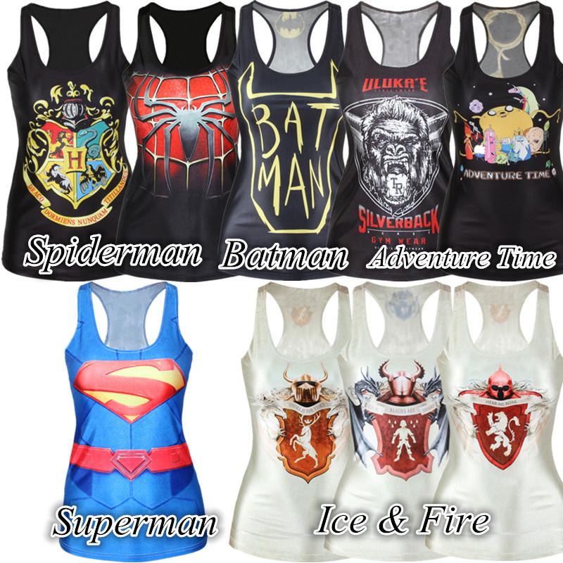 Novelty casual tank top women digital print batman & spiderman & superman & ice and fire woman fashion sleeveless shirt SMV015(China (Mainland))
