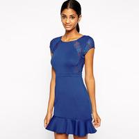 HIGH QUALITY!  blue lace patchwork ruffles women's dress girl fashion dress M/L,21631