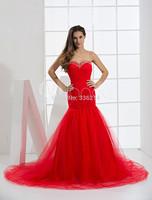 Amazing Mermaid Tulle Red Floor Length Prom Evening Dress Long Elegant Party Dresses Gowns  vestido de festa