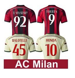 TORRES AC Milan Jersey 2015 Shaarawy KAKA AC Milan Soccer Jersey MONTOLIVO HONDA 14 15 Home Away Football Shirt(China (Mainland))