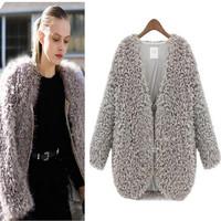 New 2014 Womans Coats Lambs Wool cardigan short jacket Fashion big yards Cape coat