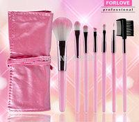 Free shipping pink color imported nylon hair  7 pcs makeup brush set  facial makeup tools