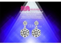 2015 Earrings Korean Jewelry Vintage Natural Crystal Zircon Earrings Free Shipping