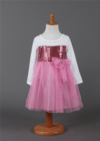 5pcs/lot wholesale long sleeve kids dress sequined bow gril clothes ,full dress child clothes