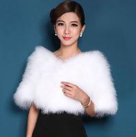 Genuine Ostrich Hair Fur Bridal Shoulder Wrap Shawl Pashmina Capelet Wedding Decor Accessiores Leather Product  Elegant