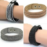 Perfect Bracelet! New Fashion 6 Layers Wide Leather Bracelets For Women& Mem!Fine Wrap Charm Bracelet Jewelry,Free Shipping !