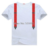 Red Kids Suspenders  Tee t shirt for kid Boy Girl clothing  top  clothes cartoon tshirt Dress