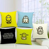 Star War Cartoon Master Yoda Darth Vader C3PO R2D2 Printed 45*45cm Cotton Linen Pillow Cases Cushion Cover For Home Sofa SMC234T