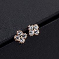 Top Luxury  18K gold plated Four Zircon Shinny  Wedding Stud Earrings Fashion jewelry nickel free ,Best gift  free shipping