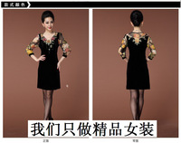 The new spring and autumn winter 2014 womens pleuche yards cultivate one's morality dress Low price super good quality