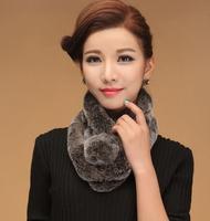 Quality Geniune Real Rex Rabbit Fur Fashion Women's Ladies' Scarf Fur Collar Winter Warm Soft Leather Product Elegant