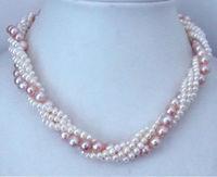 Natural White Akoya torsional White&Purple Akoya Cultured pearl Necklace 14K GP Silver hook wholesale women's jewelry