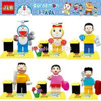 JLB 6pcs/lot Japan Doraemon nobi nobita characters minifigures block toys,Doraemon block toy bricks  with boxes