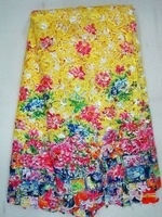 multicolor guipure with print,cord lace fabric,Water soluble , J311-7,yellow